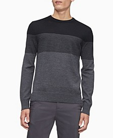 Merino Colorblock Crew Neck Stripe Sweater
