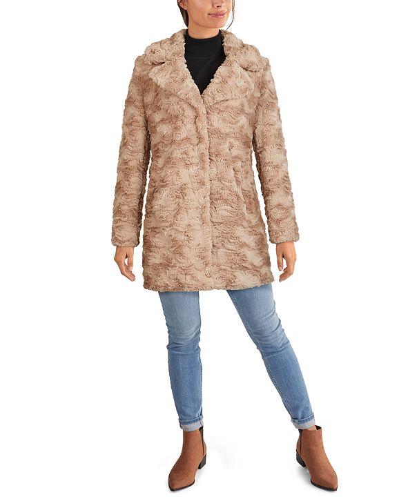 Kenneth Cole Notch-Collar Faux-Fur Coat