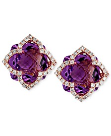 Lavender Rosé by EFFY® Amethyst (6-1/4 ct. t.w.) and Diamond (1/3 ct. t.w.) Clover Stud Earrings in 14k Rose Gold