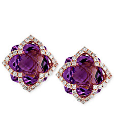 Lavender Rosé by EFFY Amethyst (6-1/4 ct. t.w.) and Diamond (1/3 ct. t.w.) Clover Stud Earrings in 14k Rose Gold