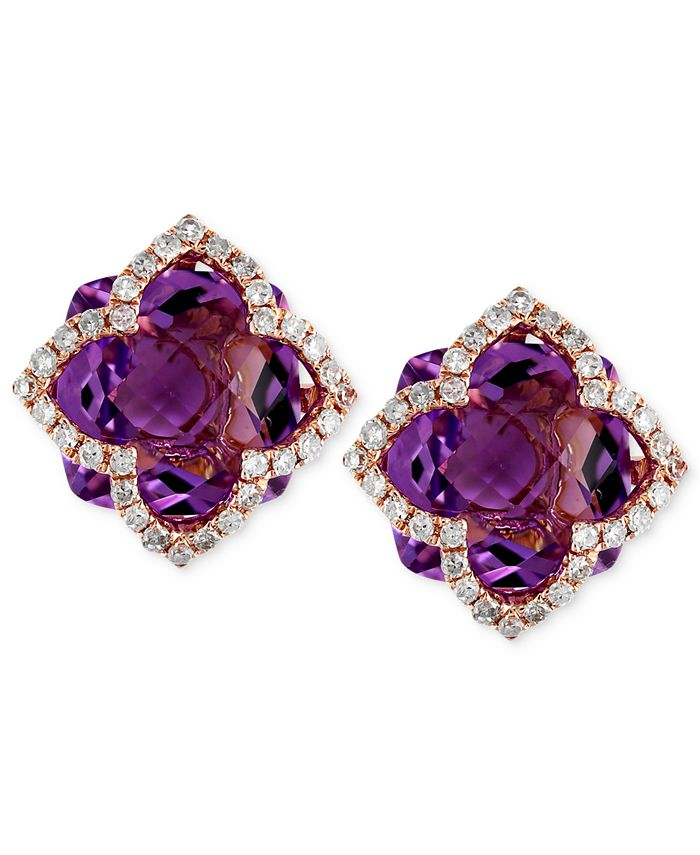 EFFY Collection - Amethyst (6-1/4 ct. t.w.) and Diamond (1/3 ct. t.w.) Clover Stud Earrings in 14k Rose Gold