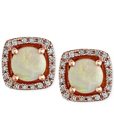 Gemma by EFFY® Opal (3/4 ct. t.w.) and Diamond (1/8 ct. t.w.) Stud Earrings in 14k Rose Gold