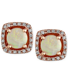 Gemma by EFFY Opal (3/4 ct. t.w.) and Diamond (1/8 ct. t.w.) Stud Earrings in 14k Rose Gold