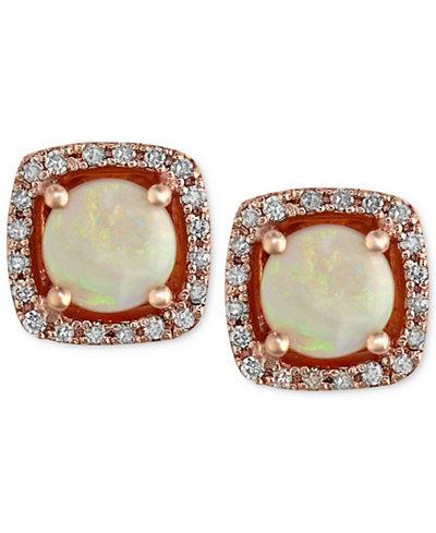 Gemma by EFFY Opal (3/4 ct. t.w.) and Diamond (1/8 ct. t.w.) Stud Earrings in 14k Rose Gold