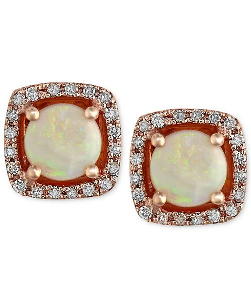 EFFY Collection Gemma by EFFY Opal (3/4 ct. t.w.) and Diamond (1/8 ct. t.w.) Stud Earrings in 14k Rose Gold
