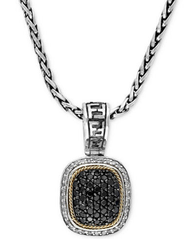 Balissima by EFFY Necklace, Black and White Diamond Square Pendant (1 ct. t.w.) in Sterling silver and 18k Gold