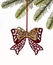 Burgundy & Blush Flocked and Glittered Bow Ornament, Created for Macy's