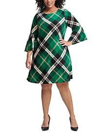 Plus Size Plaid Bell-Sleeve Sweater Dress