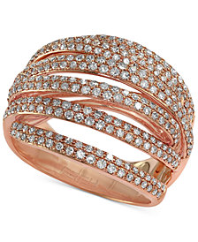 Pave Rose by EFFY Diamond Dome Crossover Ring (1 ct. t.w.) in 14k Rose Gold