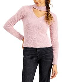 Juniors' Eyelash Choker Sweater