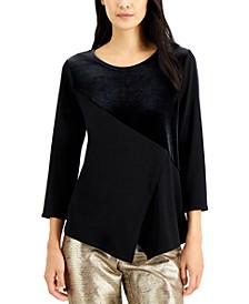 Velvet-Overlay Asymmetrical Top, Created for Macy's