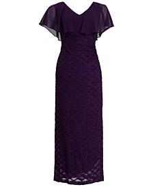 V-Neck Cape-Overlay Gown