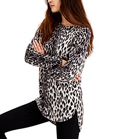 INC Plus Size Animal-Print Shirttail-Hem Sweater, Created for Macy's