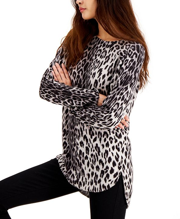 INC International Concepts INC Plus Size Animal-Print Shirttail-Hem Sweater, Created for Macy's