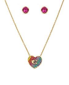 "Heart Swarovski® Crystal Pendant and Stud Earrings Set, 16"" + 2"" extender"