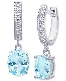 Blue Topaz Dangle Hoop Drop Earrings (3-1/5 ct. t.w.) in Sterling Silver