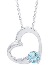 "Blue Topaz Heart 18"" Pendant Necklace (1 ct. t.w.) in Sterling Silver"