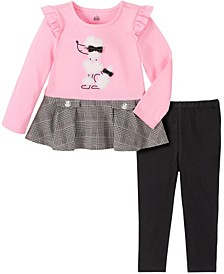 2 Piece Little Girls Knit with Plaid Poodle Tunic with Legging Set
