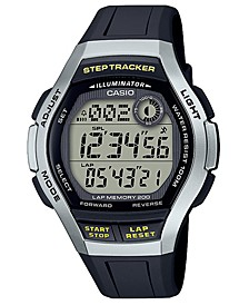 Men's Digital Step Tracker Black Resin Strap Watch 44.2mm