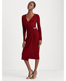 Petite Matte Jersey Surplice Dress