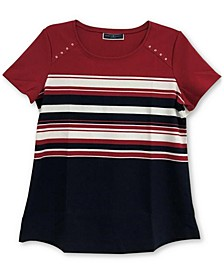 Isabella Rivet-Trim Striped Top, Created for Macy's