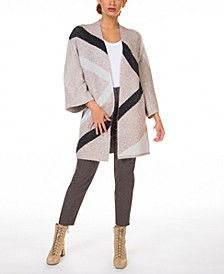 Chevron-Stripe Colorblocked Cardigan