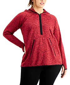 Plus Size 1/2-Zip Fleece Hoodie Jacket, Created for Macy's