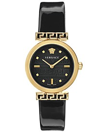 Women's Swiss Meander Black Patent Leather Strap Watch 34mm
