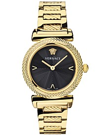 Women's Swiss V Motif Gold Ion Plated Stainless Steel Bracelet Watch 35mm
