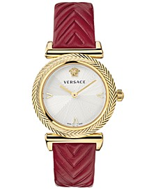 Women's Swiss V Motif Red Leather Strap Watch 35mm