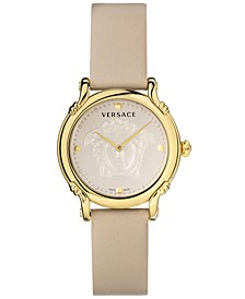 Women's Swiss Safety Pin Ivory Color Leather Strap Watch 34mm