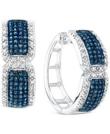 Blue & White Diamond Small Hoop Earrings (1 ct. t.w.) in Sterling Silver