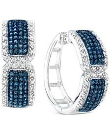 Blue & White Diamond Small Hoop Earrings (1 ct. t.w.) in Sterling Silver