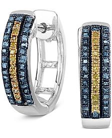 Blue & Yellow Diamond Hoop Earrings (1/3 ct. t.w.) in Sterling Silver.