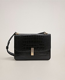 Croc-Effect Flap Bag