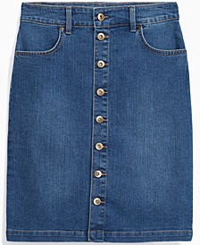 Petite Button-Front Denim Skirt, Created for Macy's