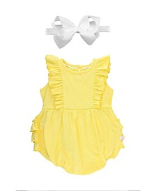 Baby Girls Bubble Romper and Bow Headband Set