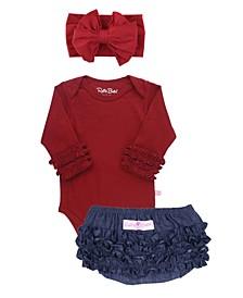 Baby Girls Bodysuit, Bow Headband and Bloomer Set