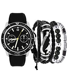 Men's Black Rubber Strap Watch 46mm Gift Set