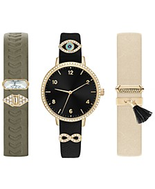 Women's Interchangeable Strap & Sliding Charm Watch 30mm Gift Set