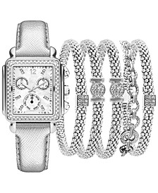 Women's Silver-Tone Polyurethane Strap Watch 29mm Gift Set