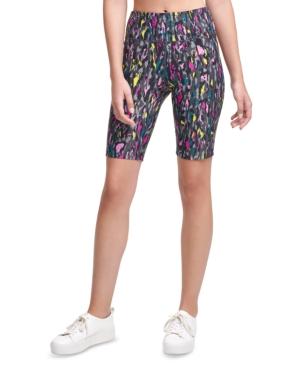Calvin Klein Performance Printed High-waist Bike Shorts In Multi