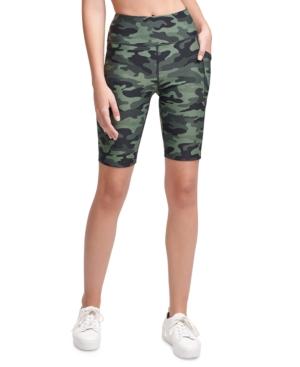 Calvin Klein Performance Printed High-waist Bike Shorts In Green