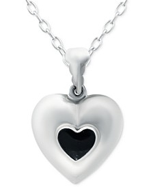 "Onyx Puff Heart 18"" Pendant Necklace in Sterling Silver, Created for Macy's"