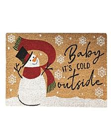 Snowman Baby It's Cold Outside Winter Coir Doormat
