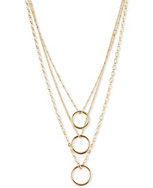 "Gold-Tone Open Circle Layered Pendant Necklace, 18"" + 2"" extender"
