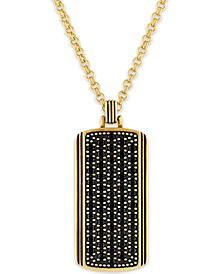 """Black Sapphire Dog Tag 22"""" Pendant Necklace (1-3/8 ct. t.w.) in 14k Gold-Plated Sterling Silver, Created for Macy's"""