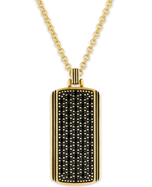 """Black Sapphire Dog Tag 22"""" Pendant Necklace (1-3/8 ct. t.w.) in 14k Gold-Plated Sterling Silver"""
