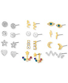Two-Tone 12-Pc. Set Multicolor Crystal & Imitation Pearl Assorted Earrings