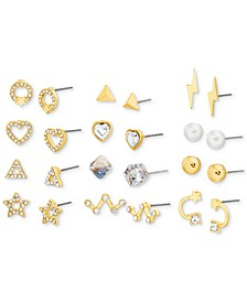 Gold-Tone 12-Pc. Set Crystal & Imitation Pearl Assorted Earrings